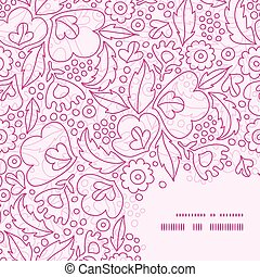 Vector pink flowers lineart frame corner pattern background...