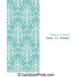 Vector light blue swirls damask vertical frame seamless...