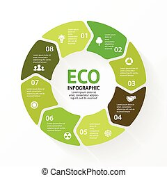 Vector green circle arrows eco infographic. - Layout for...