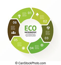 Vector green circle arrows eco infographic - Layout for your...