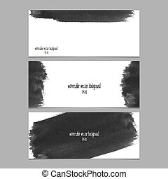 Vector banners with watercolor black. Abstract watercolor....