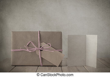 Brown Paper Gift Box with Pink Raffia and Greeting Card -...