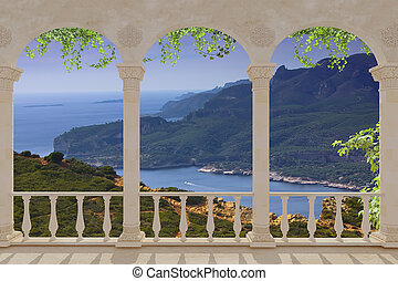 Mediterranean sea ,France, Europe - terrace with views of...