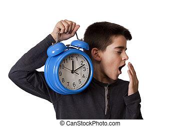 alarme, despertar, criança, cima, relógio