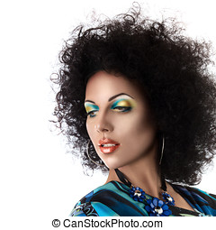 Sexy fashion model face with african style make-up