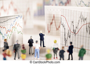 Analysis of the markets - Banker stands on a pedestal of...