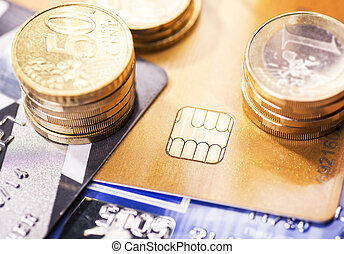 Smart card and coins - Smart card with chip and coins