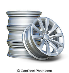 Car alloy tyre rims isolated on white background