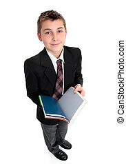 Student with open text book - High school student with an...