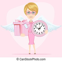 Angel holding a pink watchs