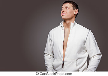 Portrait of Masculine Strong Tanned Caucasian Man in White...