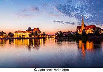 Wroclaw at night - A cityscape cathedral, river Odra....