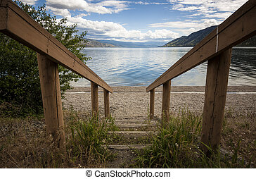 Stairs to the Beach of Lake Okanagan - Okanagan Scenics