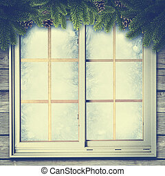 Abstract winter backgrounds with vintage window and pine...