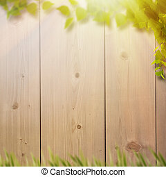 Abstract natural backgrounds with summer foliage, farm fence...