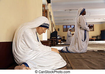 The statue of Mother Teresa in the chapel of the Mother...