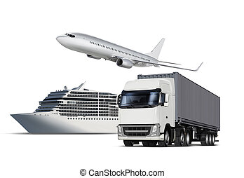isolated transport - Collage of plane, ship and truck...