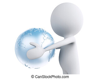 3d white person with earth globe in the hands. Global communicat