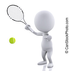 3d white people with tennis racket and ball. Isolated white...