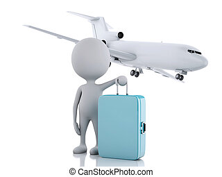 3d white people tourist with suitcases and a airplane....