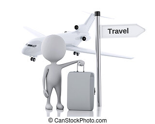 3d white people tourist with suitcases and a airplane Travel...