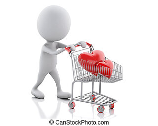 3d white people with red heart in the shopping cart. - 3d...