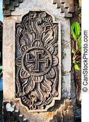 espiritual, hindú, símbolo, -swastika, en, el,...