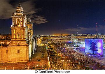 Metropolitan Cathedral Zocalo Mexico City Christmas Night -...