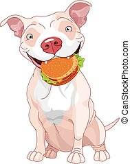 Pit Bull Dog Eats Hamburger - Illustration of Cute Pit Bull...