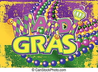 Mardi Gras flag	 - Illustration of Mardi Gras flag