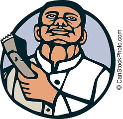 Barber Hair Clipper Scissors Circle Linocut - Illustration...