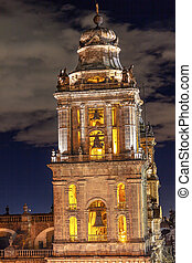 Metropolitan Cathedral Steeple Bells Statues Zocalo Mexico City