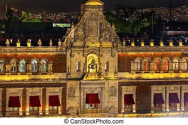 President's Palace Balcony Bell Zocalo Mexico City at Night...