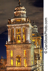 Metropolitan Cathedral Steeples Bells Statues Zocalo Mexico...