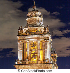 Metropolitan Cathedral Steeple Bells Statues Zocalo Mexico...