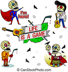 Funny skeletons_Life is a Game - Superhero with a red cape,...