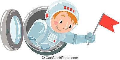Funny boy cosmonaut or astronaut with flag