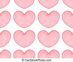 Seamless pattern with water color hearts. Hand drawn...