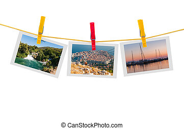 Three photos of Croatia on clothesline