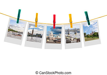Five photos of London on clothesline isolated on white...
