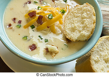 Loaded Baked Potato Soup - Creamy loaded baked potato soup...