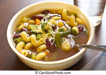 Minestrone Soup - Hearty winter minestrone soup and glass of...