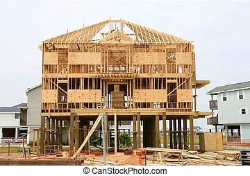 Wood house contruction, american wooden structure - Wood...
