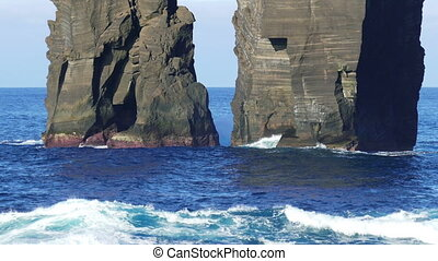 Waves Atlantic Ocean Breaking onto Rocks near Mosteiros,...