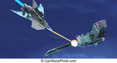 Starship Fight - A battle ensues as a fighter spacecraft...