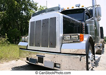 american truck with stainelss steel - Black huge lorry...