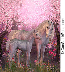 White Unicorn Mare and Foal - Spring finds a white Unicorn...