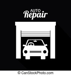 Garage design, vector illustration - Garage design over...