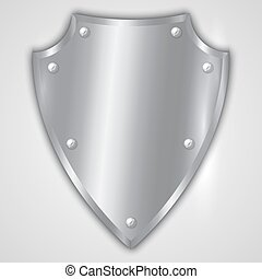 Vector abstract illustration of stainless steel shield with...