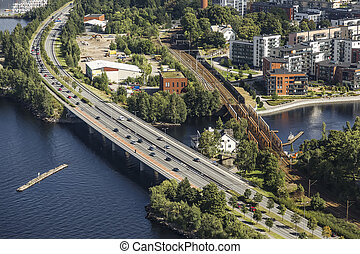 Road and rail bridges in the city of Tampere